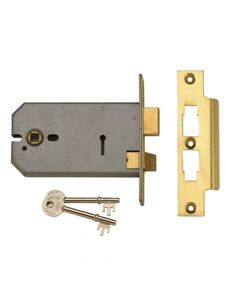 UNION 2077-5 3 Lever Horizontal Mortice Lock Satin Chrome 124mm - UNNY2077SC5
