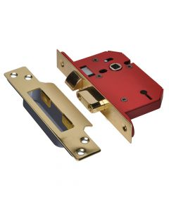 UNION StrongBOLT 2203S 3 Lever Mortice Sashlock Polished Brass 81mm 3in Visi - UNNY2203PB30