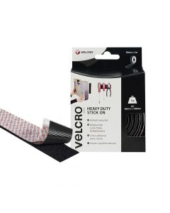 VELCRO Brand Heavy-Duty Stick On Tape 50mm x 1m Black - VEL60241