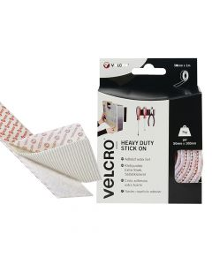 VELCRO Brand Heavy-Duty Stick On Tape 50mm x 1m White - VEL60242